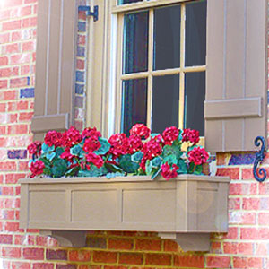 brown window box with red roses