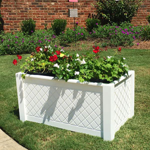 Diamond Lattice PVC Planter 36x18x18 Size White PVC