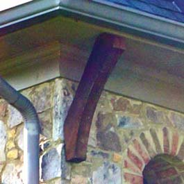 red cedar soffit brace, long and custom