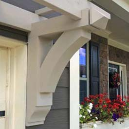 decorative trellis bracket made from wood painted white