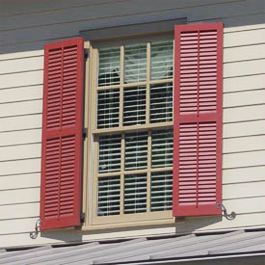 red louvered composite shuters with fixed tilt bar option