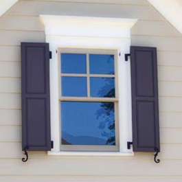 55x14 composite rasied panel shutters on siding with white pediment