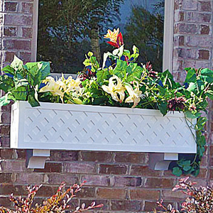 lattice window box with cross lattice pattern on brick