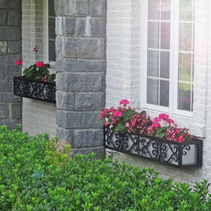 European-style window boxes with silver liner and pink geraniums, impatiens