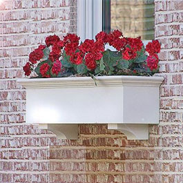 3' Traditional white window box with red roses