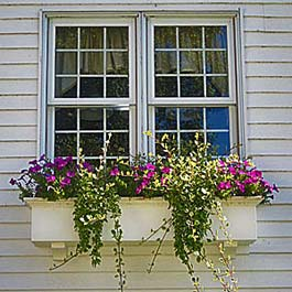 small double window with pvc flower window box and purple flowers