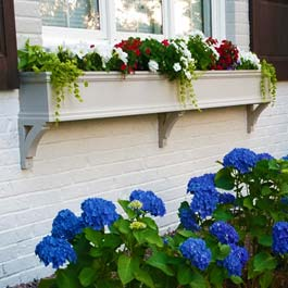 long off white window box on brick with three decorative brackets and red white flowers