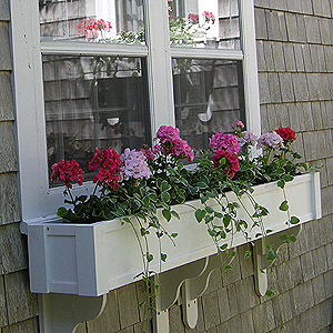 blossom window box with cottage brackets