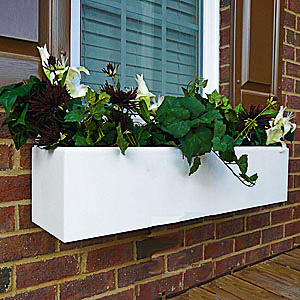 plain white flower window box, pvc