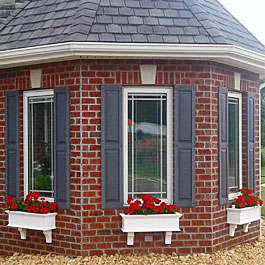 Bay window flower boxes with red geraniums