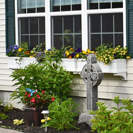 Window boxes with daisies, marigolds, and purple petunias