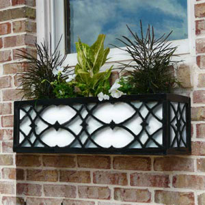 Art Deco Window Box Metal Cages Flowers