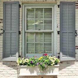 Composite PVC Exterior Louver Shutters with Tilt Bar and Flower Box