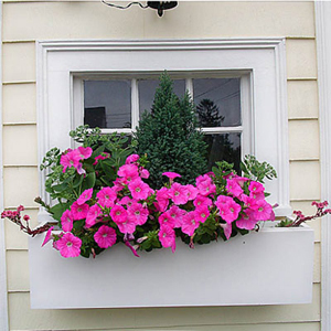 White Modern Window Box - Simple White Flower Box