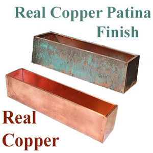 Real copper window box liners with and without patina