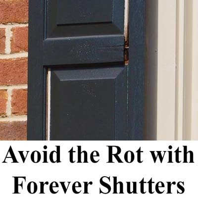 Wooden exterior shutters rot and split apart