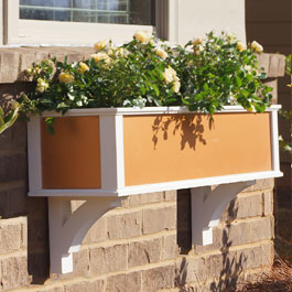 pvc window box with copper inset panel