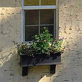 3' foot black window box on stucco
