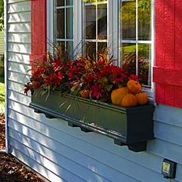 fall window box with red flowers and pumpkins