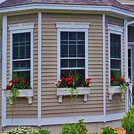 bay window, window boxes with panel design